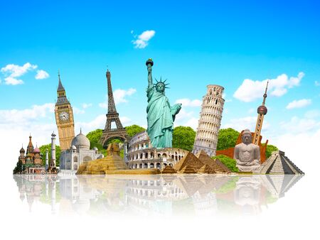 Famous monuments of the world grouped together Stock fotó