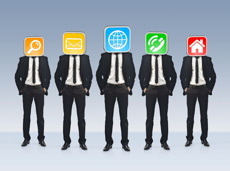 net meeting: Businessmen working together as a team with icons instead of their heads