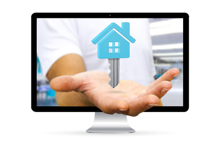 escape key: Businessman going out of a computer screen holding digital key flying over his hand Stock Photo