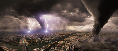 tornado: View of a large tornado destroying an entire city