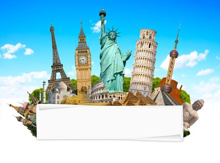 rolled paper: Famous monuments of the world grouped together with blank rolled paper