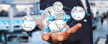 Imprenditore che collega quattro timer bianchi provenienti da diversi paesi in mano