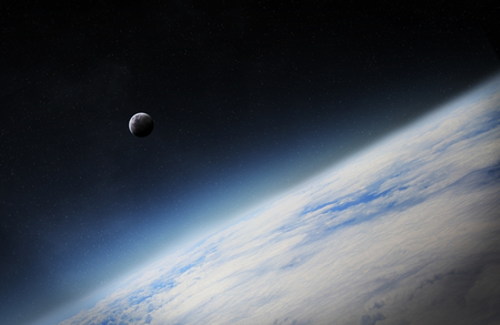 expanding: View of the moon close to planet Earth from space during a sunrise Stock Photo