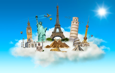 grouped: Famous monuments of the world grouped together in a cloud Stock Photo