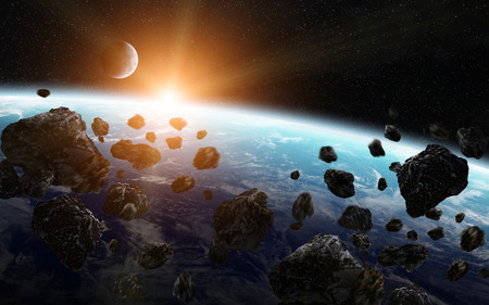 View of a planet from space during meteorite impact Stock Photo