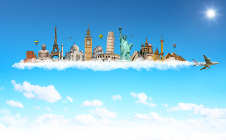 Famous monuments of the world grouped together on plane smoke in blue sky Stock Photo