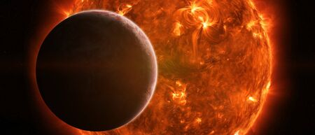 elimination: Sun exploding close to inhabited planet Earth Stock Photo