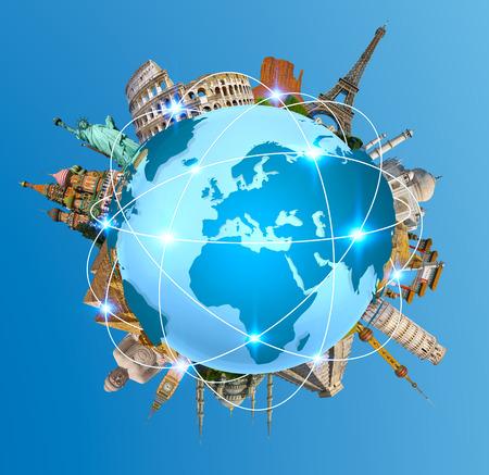 Monuments célèbres du monde regroupés sur la planète Terre