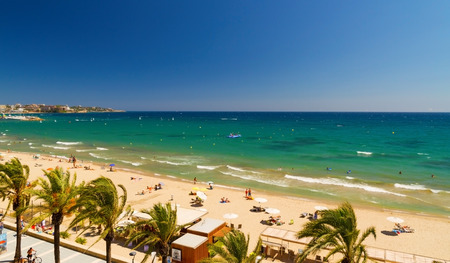 the dorada: View of Salou Platja Llarga Beach in Spain from the last floor of a coast building Stock Photo