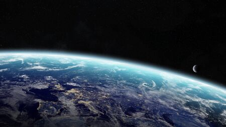 armageddon: View of the planet Earth from space during a sunrise