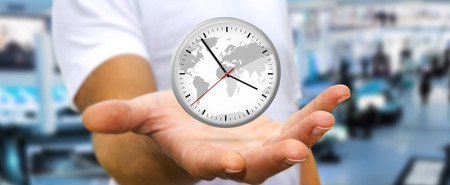 gestion del tiempo: El hombre de negocios la celebraci�n de un gran contador de tiempo blanca en su mano