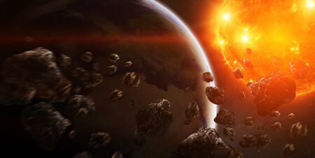 elimination: Sun exploding close to inhabited planets system Stock Photo