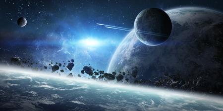Vista de un amanecer en un sistema lejano planeta en el espacio Foto de archivo - 54113978
