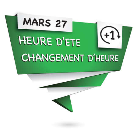 illustrating: Green origami banner illustrating the time summer change Stock Photo