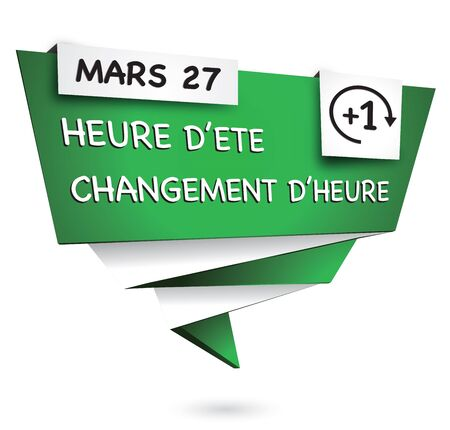 illustrating: Green origami banner illustrating the time summer change Illustration