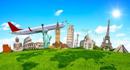 Famous monuments of the world grouped together on green grass Stock Photo