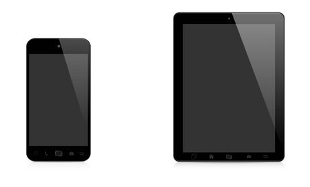 tactile: Modern digital tactile phone and tablet on white background