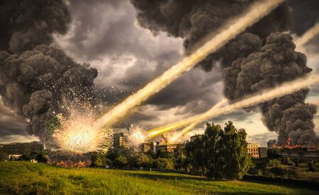 meteorite: Meteorite shower destroying the city and buildings Stock Photo
