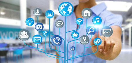 web application: Young businessman holding modern digital electronic circuit with icons in his hand