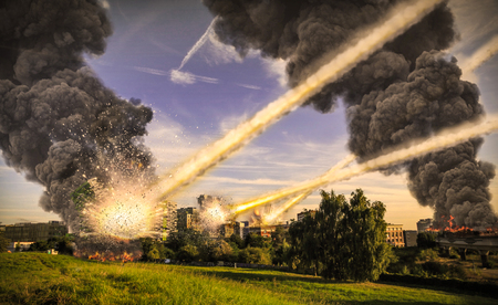 cataclysm: Meteorite shower destroying the city and buildings Stock Photo