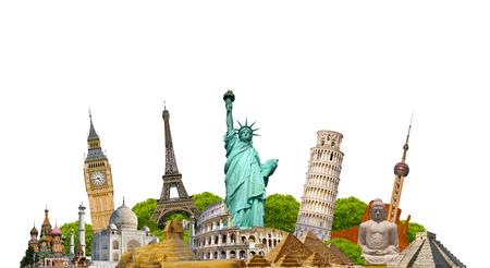 Berömda monument i världen grupperade tillsammans på vit bakgrund Stockfoto