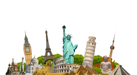 Slavné památky na světě seskupeny na bílém pozadí