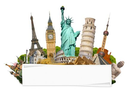 rolled paper: Famous monuments of the world grouped together with blank rolled paper on white background Stock Photo