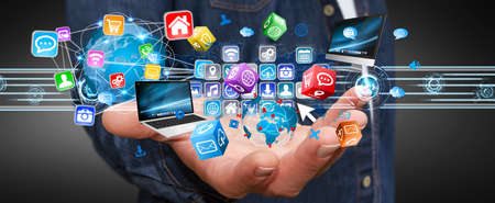 cyberspace: Businessman connecting tech devices and cyberspace applications Stock Photo
