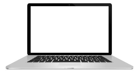 connexion: Modern digital silver and black laptop on white background Stock Photo