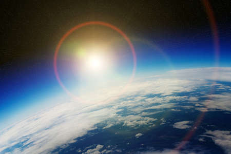 expanding: View of the planet Earth from space during a sunrise