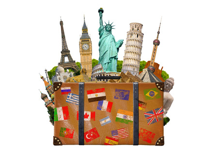 Famous monuments of the world grouped together in a travel bag on white background