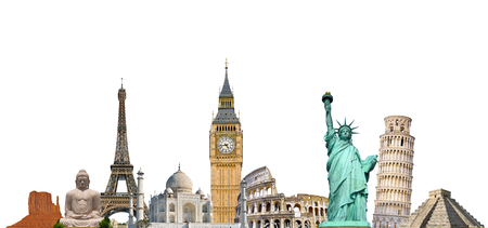 Famous monuments of the world grouped together on white background Stock Photo