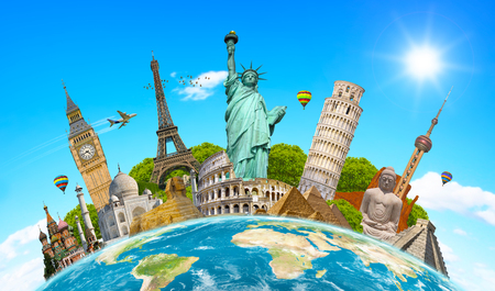 Famous landmarks of the world grouped together on planet Earth Stock Photo