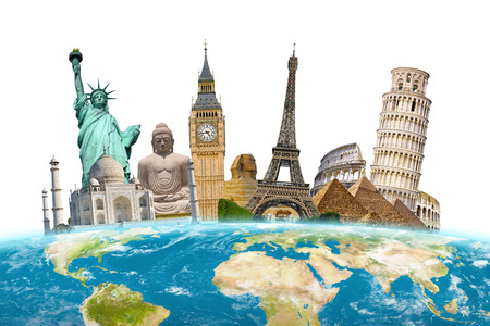 grouped: Famous landmarks of the world grouped together on planet Earth Stock Photo