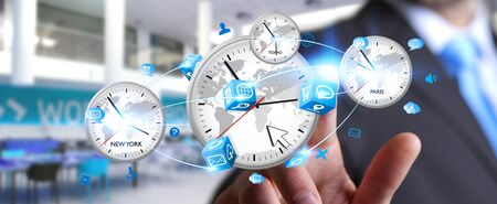 different countries: Businessman connecting four white timers from different countries in his hand Stock Photo