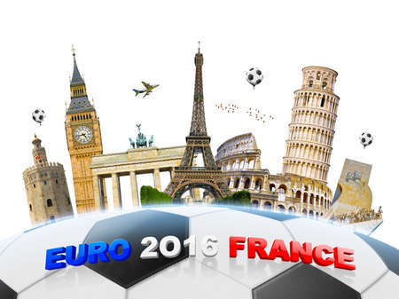 grouped: Famous european landmarks grouped together on a football