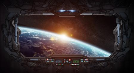 Widok z okna planety Ziemi od stacji kosmicznej