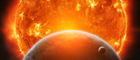 elimination: Sun exploding close to inhabited planet Earth and moon