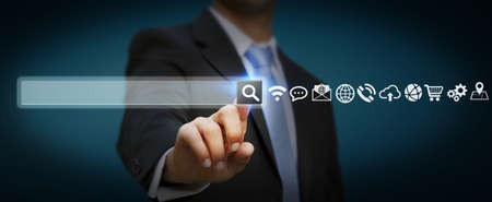 business contact: Man using tactile interface web address bar to surf on internet