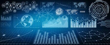Numerosos gráficos, pantallas y gráficos de interfaz de fondo