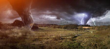 home destruction: View of a large tornado destroying the landscape