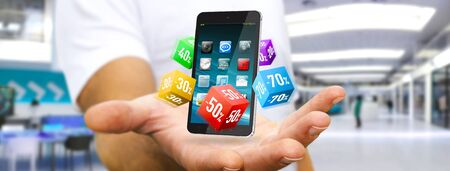 Hombre de negocios mediante la aplicación moderna de hacer compras en línea durante las rebajas