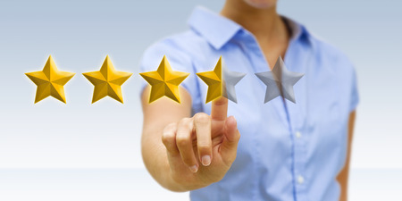 satisfy: Young businesswoman ranking using digital stars
