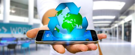 blue sphere: Businessman with recycling icon and planet Earth