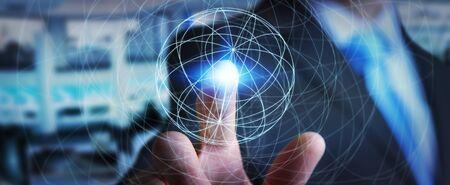 server technology: Businessman in office using digital data network