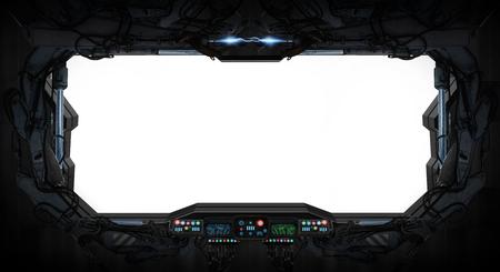 Ventana de una estación espacial con el panel de control Foto de archivo - 57351953