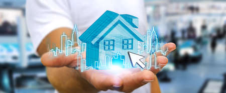 investment concept: Businessman with digital house and city flying over his hands