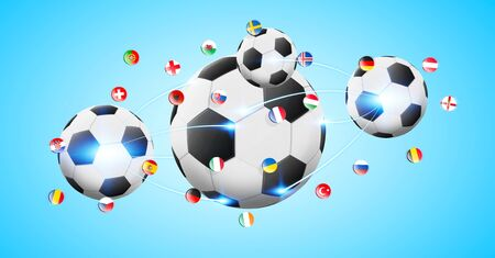 Illustration of football connected to each other with european flags Stock Photo