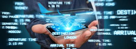 Uomo d'affari con telefono cellulare moderno a prenotare un volo