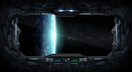 Raam uitzicht op de planeet aarde vanuit een ruimtestation